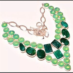 Emerald and Opal silver necklace